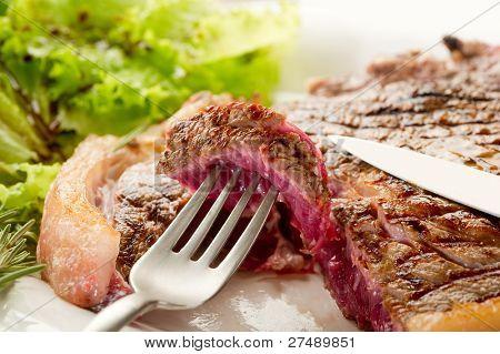 fork with slice t-bone