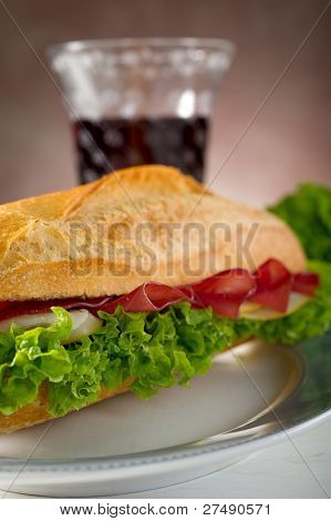 italian sandwich with bresaola cheese and lettuce