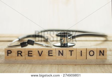Medical And Health Care Words Writing Typography Lettering Concept, Preventive Health Care