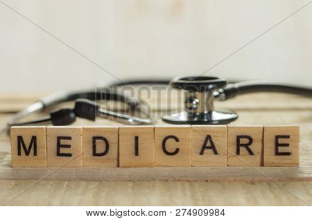 Medical And Health Care Words Writing Typography Lettering Concept, Medicare