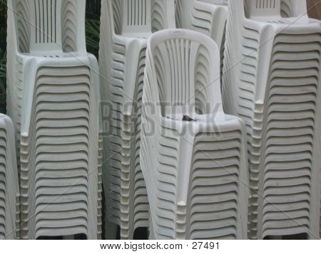 Plastic White Stacked Chairs
