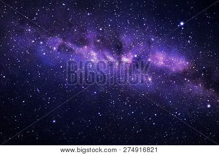 Vector Illustration With Night Starry Sky And Milky Way. Space Dark Background With Fragment Of Our