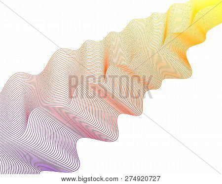 Abstract Glowing Scarf Waveform On A White Background. Purple, Orange, Yellow Gradient, Bright Color