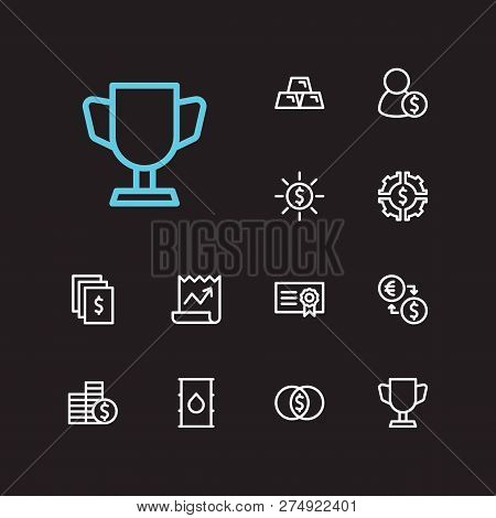 Economy Icons Set. Petroleum And Economy Icons With Stock News, Broker And Mutual Funds. Set Of Rewa