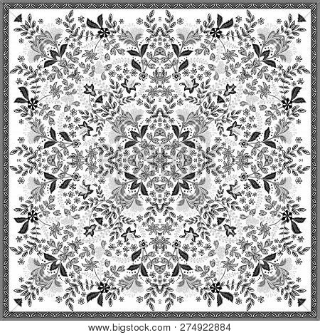 Decorative Colorful Background, Geometric Floral Doodle Pattern With Ornate Lace Frame. Tribal Ethni