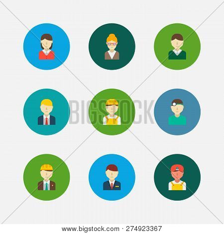 Occupation Icons Set. Indian Worker And Occupation Icons With Male Worker, Dentist And Female Worker