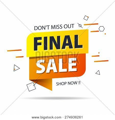 Yellow Orange Tag Final Sale Promotion Website Banner Heading Design On Graphic White Background Vec