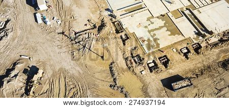 Panoramic Aerial View Machinery And Foundation Concrete Forming Of Construction Site