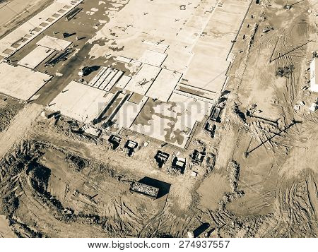 Filtered Image Top View Footing And Foundation Concrete Forming Of Construction Site