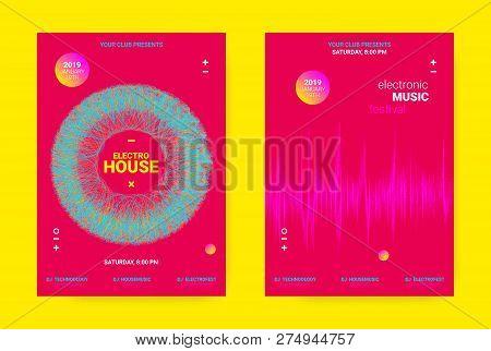 Flyer For Dance Event. Techno Sound Performance Wave Poster. Vector Music Equalizer Concept. Amplitu