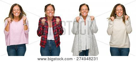 Collage of beautiful middle age woman wearing winter sweater over white isolated background excited for success with arms raised celebrating victory smiling. Winner concept.