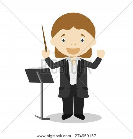 Cute Cartoon Vector Illustration Of An Orchestra Director. Women Professions Series