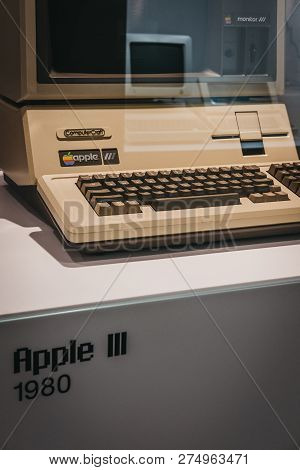 Prague, Czech Republic - August 28, 2018: Macintosh Apple Iii Computer On Display Inside Apple Museu