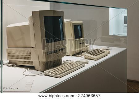 Prague, Czech Republic - August 28, 2018: Macintosh Computers On Display Inside Apple Museum In Prag