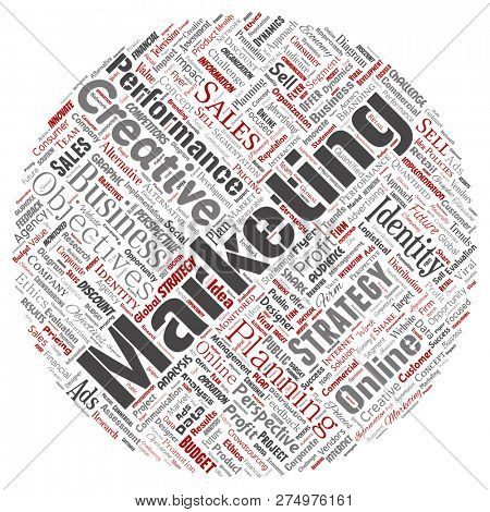 Conceptual development business marketing target round circle red word cloud isolated background. Collage advertising, strategy, promotion branding, value, performance planning or challenge