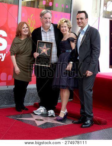 LOS ANGELES - FEB 14:  Nancy Cartwright, Matt Groening, Yeardley Smith, Hank Azaria at the Matt Groening Star Ceremony on the Hollywood Walk of Fame on February 14, 2012 in Los Angeles, CA