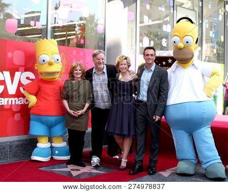 LOS ANGELES - FEB 14: Bart, Nancy Cartwright, Matt Groening, Yeardley Smith, Hank Azaria, Homer at the Matt Groening Star Ceremony on the Hollywood Walk of Fame on February 14, 2012 in Los Angeles, CA