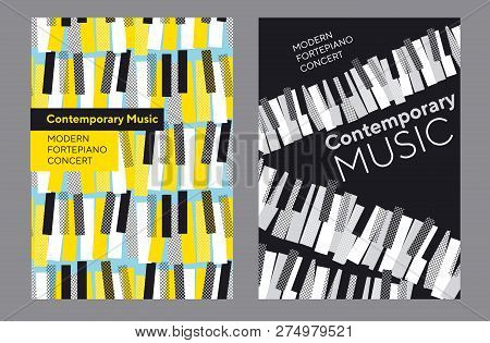 Bright Poster Set For Music Concert, Classic Piano Keyboard In Geometric Mosaic Style. Elegant Urban