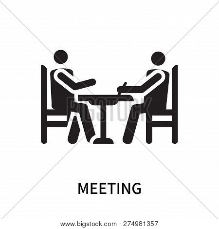 Meeting Icon Isolated On White Background. Meeting Icon Simple Sign. Meeting Icon Trendy And Modern