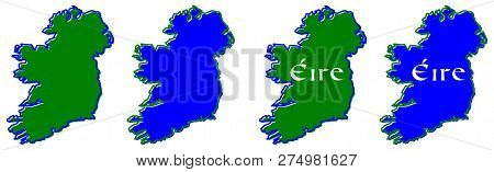 Ireland (whole Island With British Northern Part) Map Outline. Fill And Stroke Are National Colours.