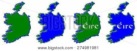 Republic Of Ireland (without British Northern Part) Map Outline. Fill And Stroke Are National Colour