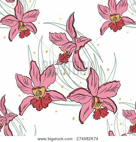 Seamless Pattern Of Pink Orchids On A White Background. Orchid Isolated