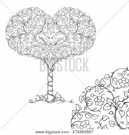 A Pair Of Birds In The Crown Of The Heart Tree. Sketch For Adult Antistress Coloring Page. Elements