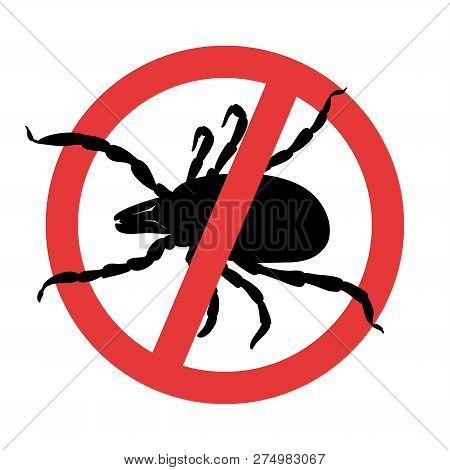 Mite Parasites. Tick Silhouette. Symbol Parasite Warning Sign