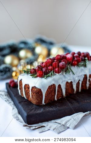 Traditional Fruitcake For Christmas On White Christmas Background. Close Up. Copy Space.