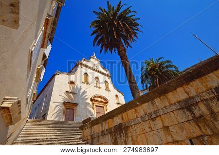 Historic Church In Milna On Brac Island, Dalmatia, Croatia