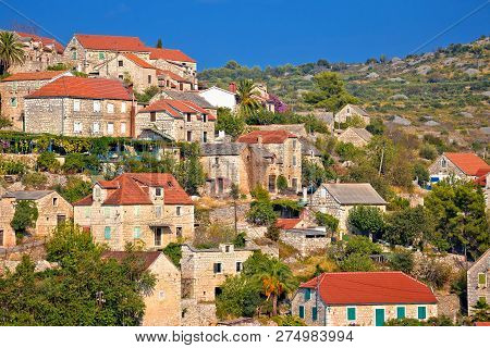 Historic Hillside Stone Village Of Lozisca On Brac Island, Dalmatia Region Of Croatia