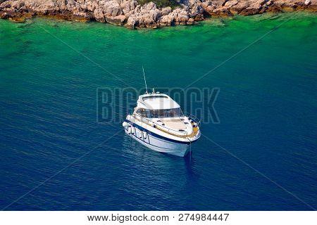 Yacht Anchored In Hidden Turquoise Bay Of Croatian Archipelago, Island Of Hvar, Dalamtia, Croatia
