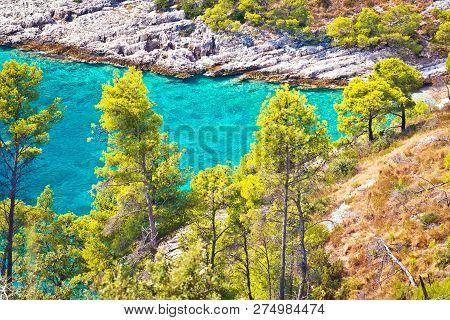 Hidden Turquoise Bay On Brac Island Coast, Dalmatia, Croatia