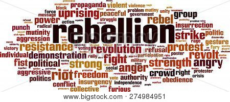 Rebellion Word Cloud Concept. Vector Illustration On White