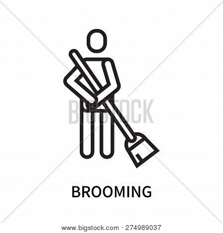 Brooming Icon Isolated On White Background. Brooming Icon Simple Sign. Brooming Icon Trendy And Mode