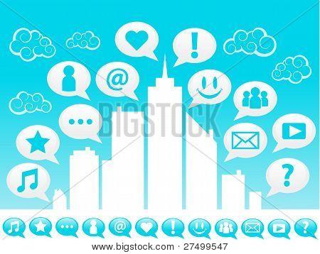 Blue Social Media City