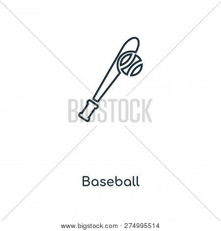 Baseball Icon In Trendy Design Style. Baseball Icon Isolated On White Background. Baseball Vector Ic