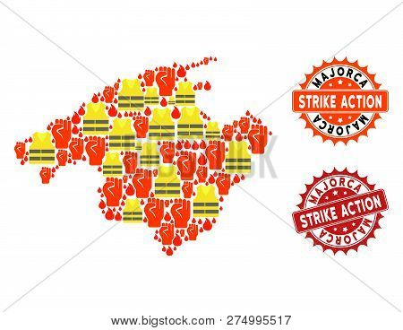 Strike Action Composition Of Revolting Map Of Majorca, Grunge And Clean Seal Stamps. Map Of Majorca