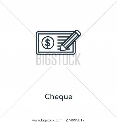 Cheque Icon In Trendy Design Style. Cheque Icon Isolated On White Background. Cheque Vector Icon Sim