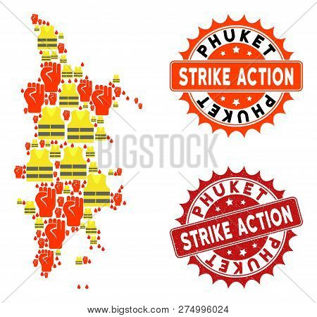 Strike Action Collage Of Revolting Map Of Phuket, Grunge And Clean Stamps. Map Of Phuket Collage Cre