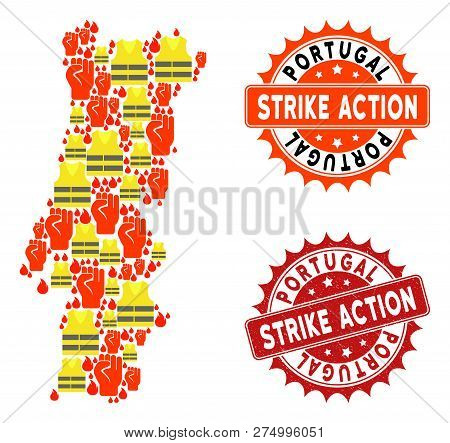 Strike Action Collage Of Revolting Map Of Portugal, Grunge And Clean Seals. Map Of Portugal Collage