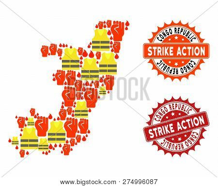 Strike Action Collage Of Revolting Map Of Republic Of The Congo, Grunge And Clean Seals. Map Of Repu