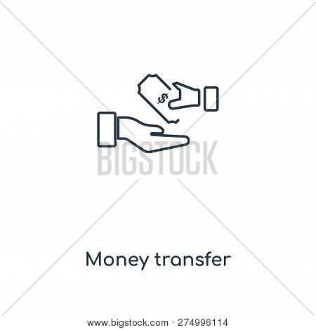 Money Transfer Icon In Trendy Design Style. Money Transfer Icon Isolated On White Background. Money