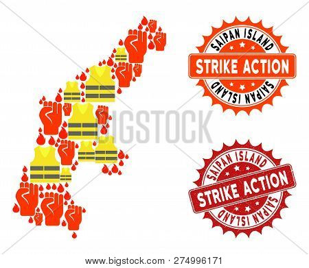 Strike Action Composition Of Revolting Map Of Saipan Island, Grunge And Clean Seal Stamps. Map Of Sa