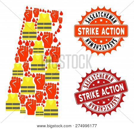 Strike Action Collage Of Revolting Map Of Saskatchewan Province, Grunge And Clean Seals. Map Of Sask