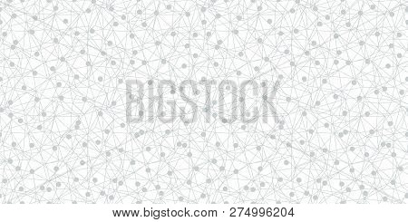 Grey Dots Network Texture Seamless Pattern. Great For Technology Inspired Wallpaper, Backgrounds, In