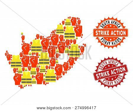 Strike Action Collage Of Revolting Map Of South African Republic, Grunge And Clean Seal Stamps. Map