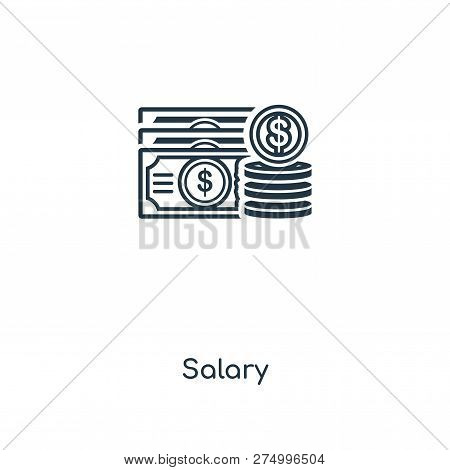Salary Icon In Trendy Design Style. Salary Icon Isolated On White Background. Salary Vector Icon Sim