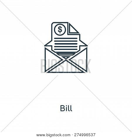 Bill Icon In Trendy Design Style. Bill Icon Isolated On White Background. Bill Vector Icon Simple An