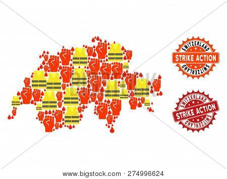 Strike Action Collage Of Revolting Map Of Switzerland, Grunge And Clean Seals. Map Of Switzerland Co